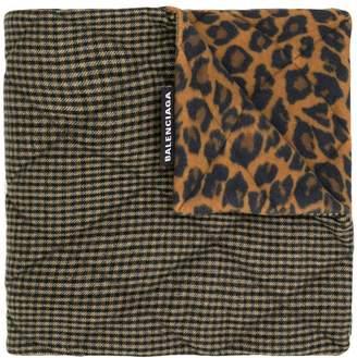 Balenciaga houndstooth and leopard print scarf