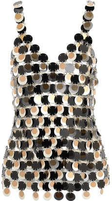 Paco Rabanne Paillette-embellished Chainmail Top - Silver