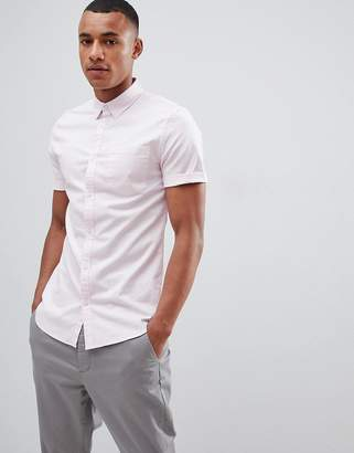 New Look Muscle Fit Oxford Shirt In Light Pink