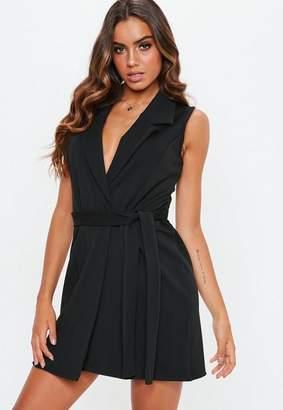 Missguided Black Sleeveless Stretch Crepe Blazer Dress