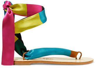 Eres + Nupié Printed Silk-satin Sandals - Magenta