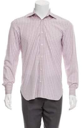 Borrelli Plaid Button-Up Dress Shirt