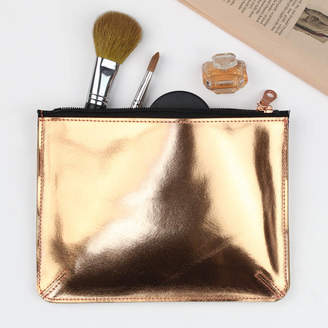 Undercover Large Leather Metallic Copper Flat Purse