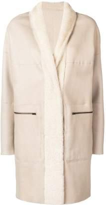 Sprung Frères lamb fur shawl collar coat