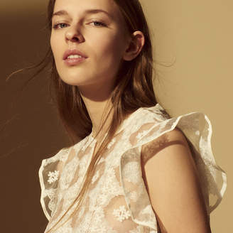 Sandro Lace top with ruffled details