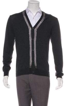 Versace Wool Chain-Link Accented Cardigan w/ Tags