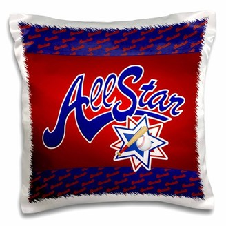 3dRose Baseball All-Star theme in blue, red and white for boys and sports lovers - Pillow Case, 16 by 16-inch