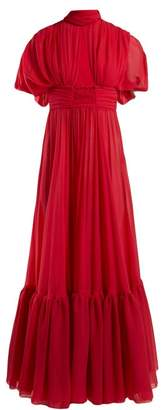 Giambattista Valli Cut Out Silk Crepe De Chine Gown - Womens - Fuchsia