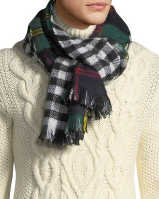 Neiman Marcus Men's Plaid and Check Double-Sided Blanket Scarf