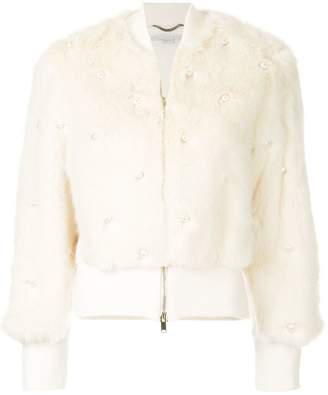 Stella McCartney embellished pearl bomber jacket