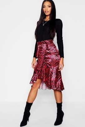 boohoo Satin Zebra Ruffle Wrap Midi Skirt