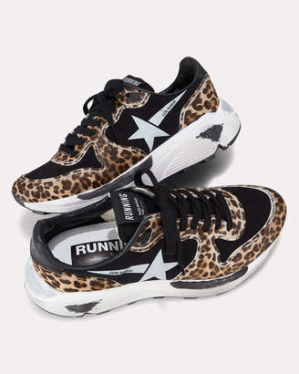 Golden Goose Leopard White Star Running Sneakers