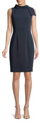 Badgley Mischka Mock-Tie Sleeveless Dress