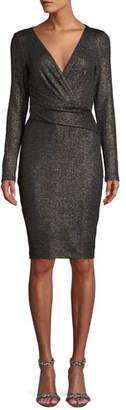 Talbot Runhof Rodigo Long-Sleeve V-Neck Glitter-Jersey Fitted Cocktail Dress
