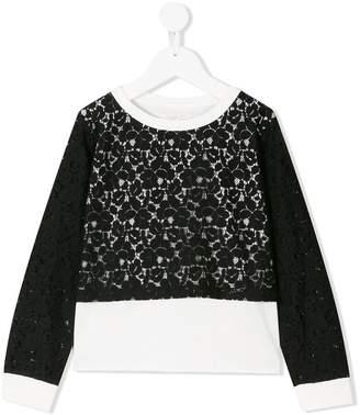 Liu Jo Kids floral lace panel sweatshirt