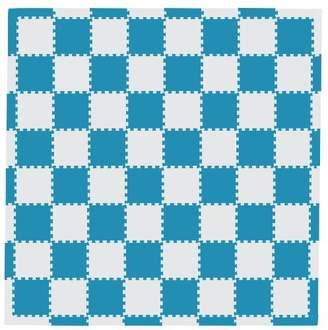 Camilla And Marc (カミラ アンド マーク) - MAMENCHI フロアマット つなげてカラフル ブルーベージュ 全長約229.5×229.5(cm) 正方形マット64枚(8×8) エッジマット短28枚 エッジマット長4枚 M-0127