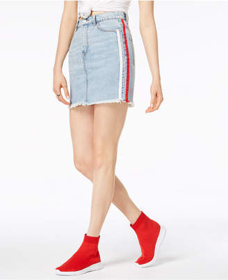 KENDALL + KYLIE Cotton Side-Stripe Denim Skirt