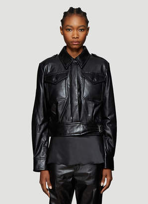 Helmut Lang Chest Pocket Cropped Leather Jacket in Black