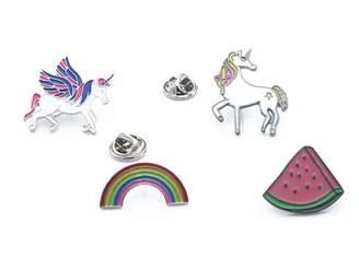 Fsmiling Girls Cute Pegasus Horse Unicorn Rainbow Watermelon Enamel Brooch Set Pin Badge