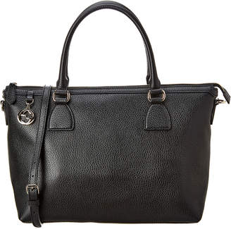 Gucci Black Leather Gg Satchel