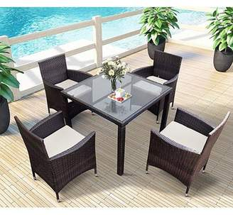BEIGE Bayou Breeze 5 Pieces Patio Dining Sets, Outdoor Rattan Dining Furniture Sets With 4 Wicker Chairs And Glass Table, Cushions Bayou Breeze