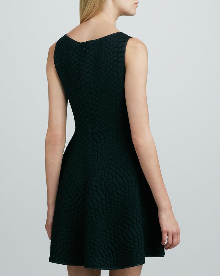 Catherine Malandrino Aimee Crocodile-Jacquard Dress