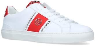 Philipp Plein Leather Logo Stud Sneakers