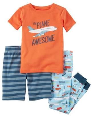 Carter's Boys' Short Sleeve Top, Shorts, & Pants 3pc Pajamas Set