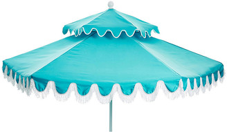One Kings Lane Daiana Two-Tier Fringe Patio Umbrella - Aqua