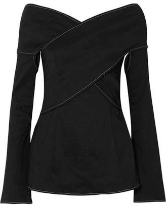 Beaufille - Prima Off-the-shoulder Stretch Linen-blend Blouse - Black