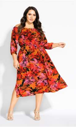 City Chic Citychic Sunrise Elbow Sleeve Dress - sunrise