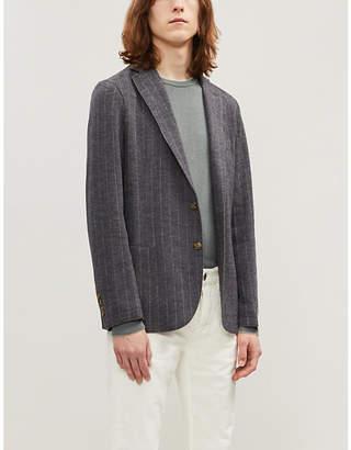 Eleventy Pinstriped slim-fit wool and cotton-blend blazer