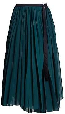 Sacai Women's Pleated Organza Wrap Skirt