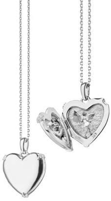 Monica Rich Kosann Sterling Silver Heart Locket Necklace w/ White Sapphire Accents