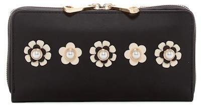 ZAC Zac Posen Earthette Checkbook Leather Wallet With Floral Applique