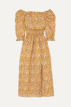 Rixo Lily Off-the-shoulder Floral-print Cotton And Silk-blend Midi Dress - Yellow