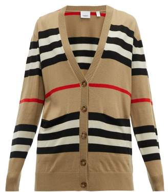 Burberry Icon Stripe Merino Wool Cardigan - Womens - Beige Multi
