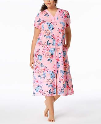 Miss Elaine Plus Size Printed Long Zip Robe