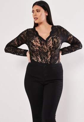 Missguided Plus Size Black Scallop Lace Long Sleeve Bodysuit