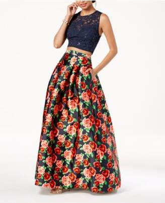 B. Darlin Juniors' Lace-Top Printed-Skirt 2-Pc. Gown