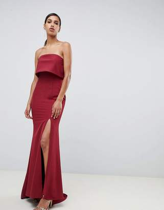 Jarlo bandeau overlay maxi dress with thigh split in berry