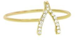 Jennifer Meyer Diamond Mini Wishbone Ring - Yellow Gold