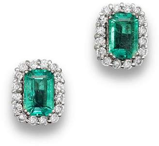 Bloomingdale's Emerald and Diamond Halo Stud Earrings in 14K White Gold - 100% Exclusive