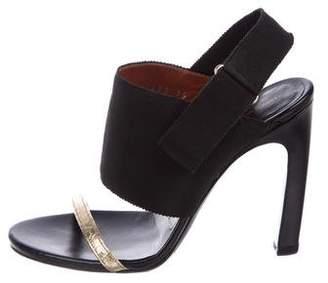 Dries Van Noten Grosgrain & Leather Slingback Sandals