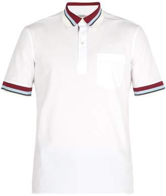 Valentino Striped rib-knit trimmed cotton-poplin polo shirt