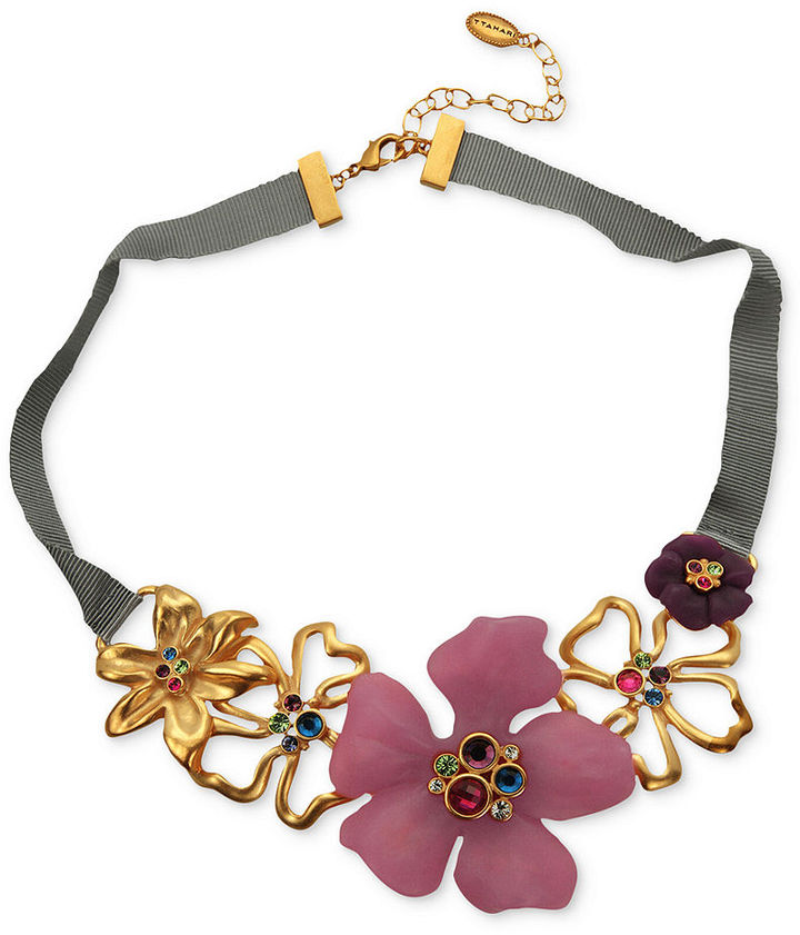 T Tahari Necklace, 14k Gold-Plated Multi-Color Floral Statement Necklace