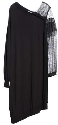Clu Mix Media Asymmetrical Hem Ruffle Dress