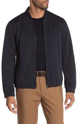 Theory Classon Striped Ponte Bomber Jacket