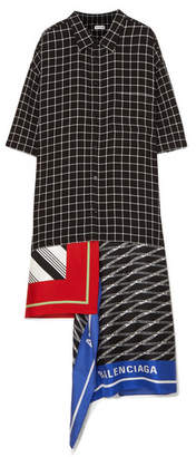 Balenciaga Asymmetric Patchwork Checked Poplin And Silk-twill Dress - Black