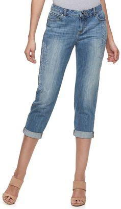 Women's Jennifer Lopez Embroidered Boyfriend Jeans $74 thestylecure.com